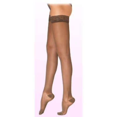Sigvaris Truly Transparent Thigh High With Grip Top 30-40mmHg Closed Toe Long Length, Large Long, Suntan