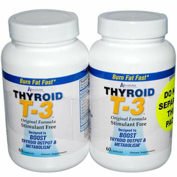 Absolute Nutrition Thyroid T-3 60 Capsules Each / Pack of 2