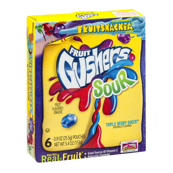Fruit Gushers Sour Triple Berry Shock Fruit Snacks - 6 CT