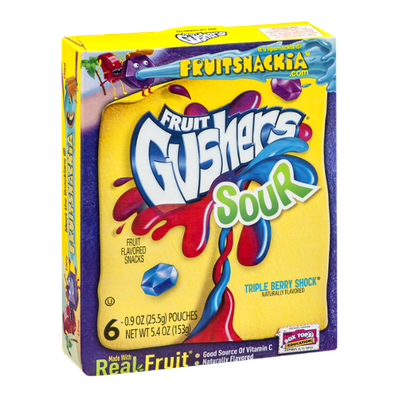 Fruit Gushers Sour Triple Berry Shock Fruit Snacks - 6 CT