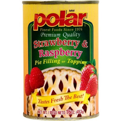 Polar   MW Polar Foods Strawberry and Raspberry Pie Filling, 16-Ounce (Pack of 8)