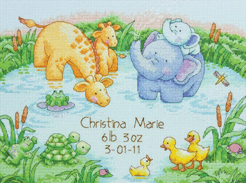 Dimensions Acquisition Llc Dimensions Little Pond Birth Record Counted Cross Stitch Kit 12