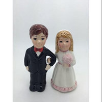 Bride and Groom Pink Rose Magnetic Salt and Pepper Shakers