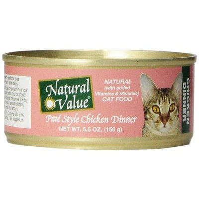 Natural Value Pate Style Chicken Dinner Cat Food, 5.5 Ounce Cans (Pack of 24)