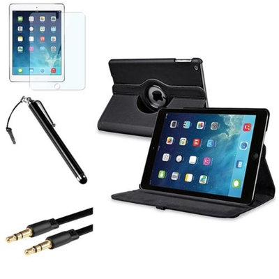 Insten INSTEN Black 360 Rotating Leather Case Cover+LCD+Pen+Cable For Apple iPad Air 5 5th Gen