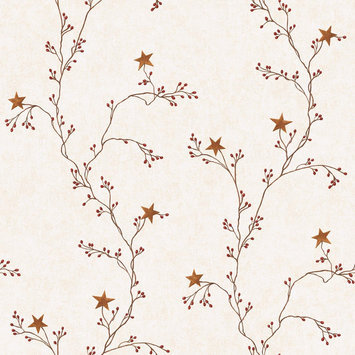 York Wallcoverings, Inc. York Wallcoverings Hearts & Crafts III Star Berry Vine Wallpaper