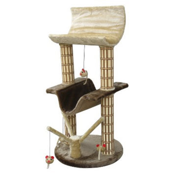 Cat Life Cat-Life Multi-Level Lounger with Play Tree & Bamboo Posts from Penn-