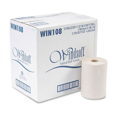 Windsoft WNS108 Natural Nonperforated Paper Towel Roll 8