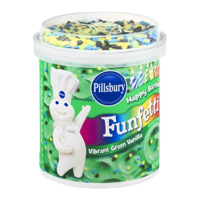 Pillsbury Happy Birthday Funfetti Frosting Vibrant Green Vanilla