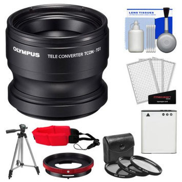 Olympus TCON-T01 Tele Converter Lens & CLA-T01 Adapter Ring Pack for Tough TG-1, TG-2 & TG-3 iHS Camera with Li-90B Battery + Tripod + 3 UV/CPL/ND8 Filters + Accessory Kit