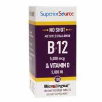 Superior Source No Shot B-12 5000 mcg & Vitamin D 5000 IU - 100 Instant Dissolve Tablets