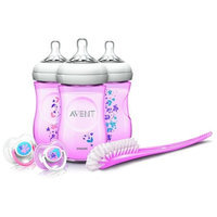 Philips AVENT Natural 9 Ounce Baby Bottle Feeding Gift Set - Pink Flowers