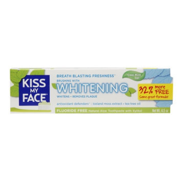 Kiss My Face Whitening Fluoride-Free Natural Toothpaste Gel with Xylitol, Cool Mint, 4.5 oz