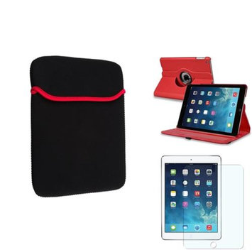 Insten INSTEN Red 360 Rotate Leather Case Cover+Matte Protector/Sleeve For Apple iPad Air 5 5th Gen
