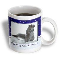 Recaro North 3dRose - Beverly Turner Christmas Design and Photography - Squirrel in the Snow, Merry Christmas - 11 oz mug