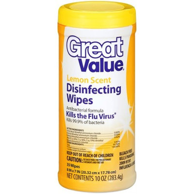Great Value Lemon Scent Disinfecting Wipes, 35ct