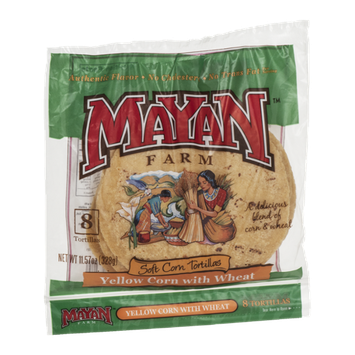 Mayan Farm Soft Corn Tortillas Yellow Corn with Wheat - 8 CT