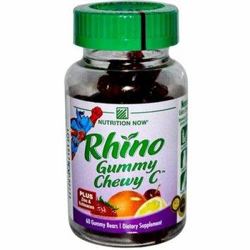 Nutrition Now Rhino Gummy Chewy C Strawberry Orange Lemon and Cherry 60 Gummy Bears