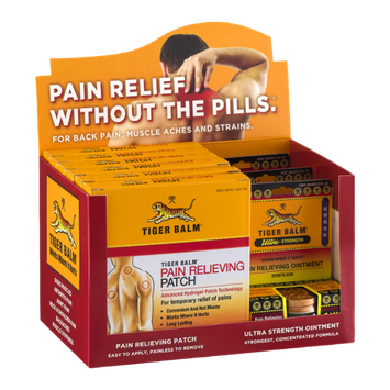 Tiger Balm Display - Pain Relieving Patch/Pain Relieving Ointment Ultra Strength Sports Rub - 9 CT