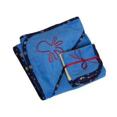 Ambajam Plush Hooded Towel and Wash Cloth Set, Sky Blue Terry/Swirly Red Trim