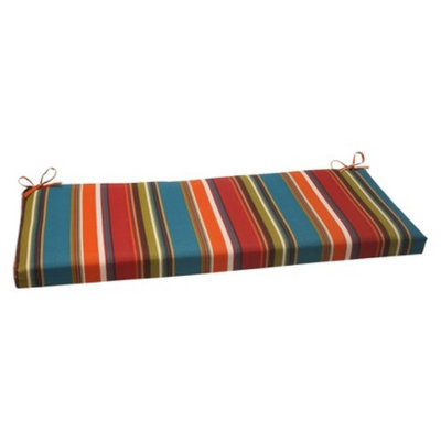 Pillow Perfect Outdoor Bench Cushion - Brown/Red/Teal Stripe