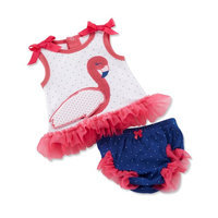 Baby Aspen Girls Fancy Flamingo Tunic and Diaper Cover Set