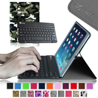 Fintie SmartShell Cover with Wireless Bluetooth Keyboard Case for Apple iPad Air / iPad 5, Camouflage Black