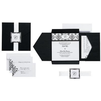 Wilton BLACK & WHITE SCROLL MONOGRAM POCKET INVITATIONS