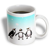 Recaro North 3dRose - Renderly Yours Winter And Christmas - Penguins Playing In Snow - 11 oz mug