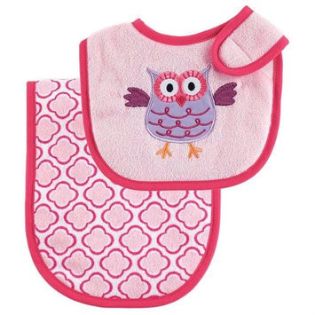 Baby Vision Luvable Friends Bib and Burp Cloth Set - Pink Owl