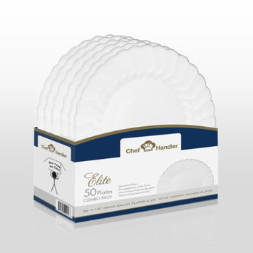 Chef Handler Scalloped Edge Plastic Plates Combo Basket Pack