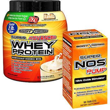 Body Fortress 2lb Vanilla Whey Protein Powder + 90ct Super Nos Pump Nitric Oxide Stimulator Bundle