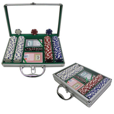 Trademark Poker 200 Dice Striped 11.5g Chips with Clear Cover Aluminum Case