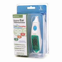 Veridian Healthcare Digital Ear Thermometer with Color Changing Display Readout