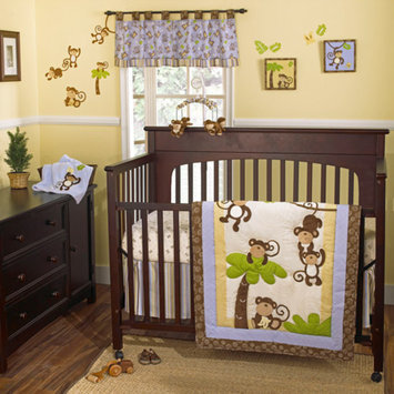 CoCaLo CoCo & Company Monkey Time 4-Piece Crib Bedding Collection Value Bundle