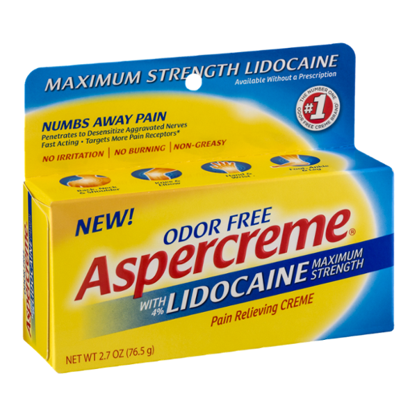 Aspercreme with Lidocaine Pain Relieving Creme Maximum Strength