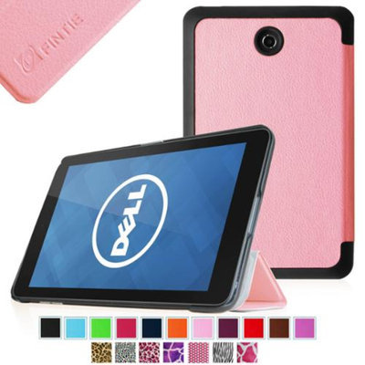 Fintie Slim Shell Leather Case Cover For Dell Venue 7 / New Dell Venue 7 (2014 Version) 7-Inch Android Tablet, Pink