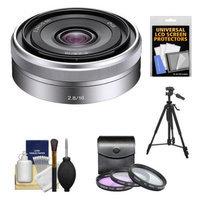 Sony Alpha NEX E-Mount E 16mm f/2.8 Lens + Tripod + 3 UV/FLD/PL Filters Kit for A7, A7R, A7S, A3000, A5000, A5100, A6000 Cameras