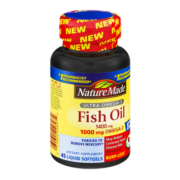 Nature Made Fish Oil Ultra Omega-3 1400mg Dietary Supplement Liquid Softgels - 45 CT