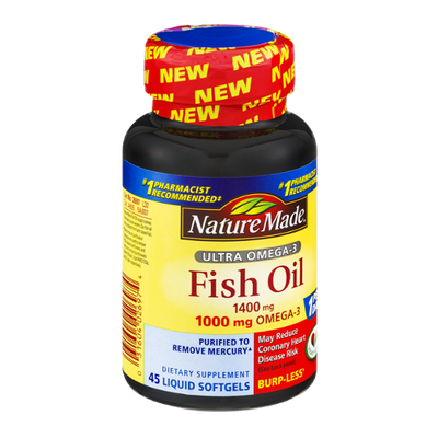 Nature Made Fish Oil Ultra Omega-3 1400mg Dietary Supplement Liquid Softgels - 45 CT