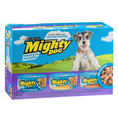 Purina Mighty Dog Thick-Sliced Chicken, Turkey and Beef Dinners Dog Food - 12 CT