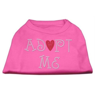 Mirage Pet Products 5201 LGBPK Adopt Me Rhinestone Shirt Bright Pink L 14
