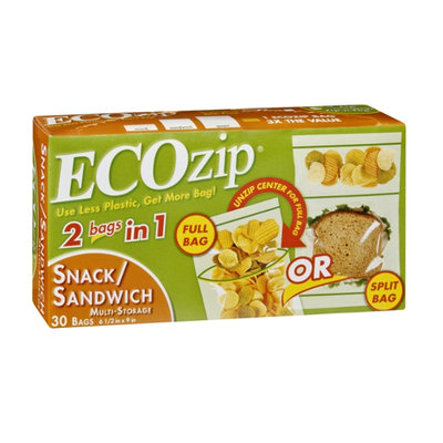 EcoZip 2 Bags in 1 Snack/Sandwich Multi-Storage Bags - 30 CT