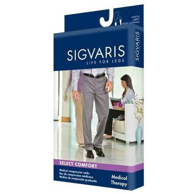 Sigvaris 860 Select Comfort 30-40 mmHg Men's Closed Toe Knee High Sock with Silicone Grip-Top Size: X1, Color: Black 99