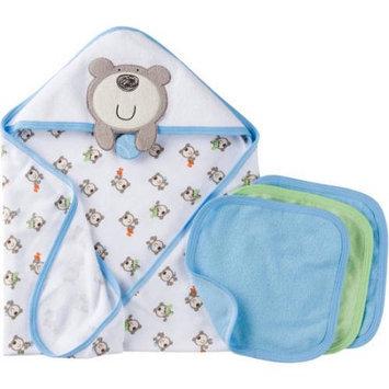 Gerber Newborn Baby Boy Towel and Washcloths Bath Essentials 4-Piece Gift Set