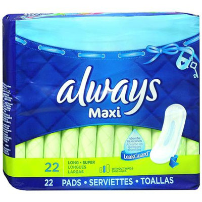 Always Maxi Pads Long Super without Wings