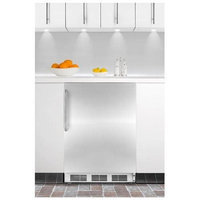 SUMMIT ADA compliant built-in undercounter all-refrigerator with stainless steel door and towel bar handle