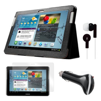 Black Folio Case with Earphones, Screen Protector, and Car Charger for Samsung Galaxy Tab 2 10.1