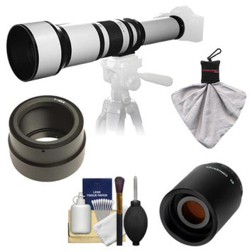 Samyang 650-1300mm f/8-16 Telephoto Lens (White) with 2x Teleconverter (=650-2600mm) for Sony Alpha NEX-C3, NEX-F3, NEX-5, NEX-5N, NEX-7 Digital Cameras