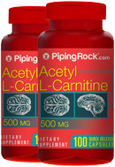 Piping Rock Acetyl L-Carnitine 500mg 2 Bottles x 100 Capsules